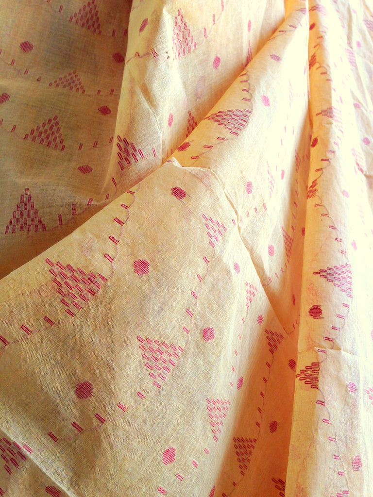 Yellow Handwoven Jaamdani Cotton Saree