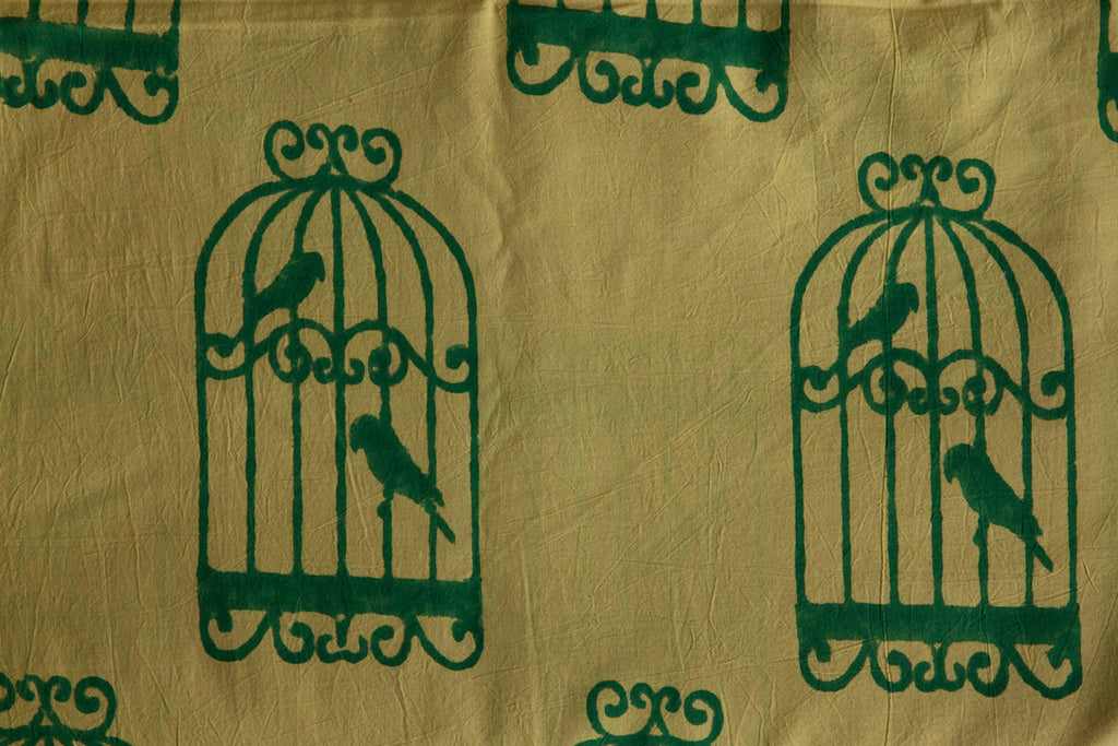 Khaki Fabric with Bird Cage Print (per meter)