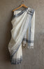 Handwoven Linen Plain White Saree
