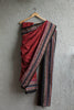 Deep Red Checkered Saree