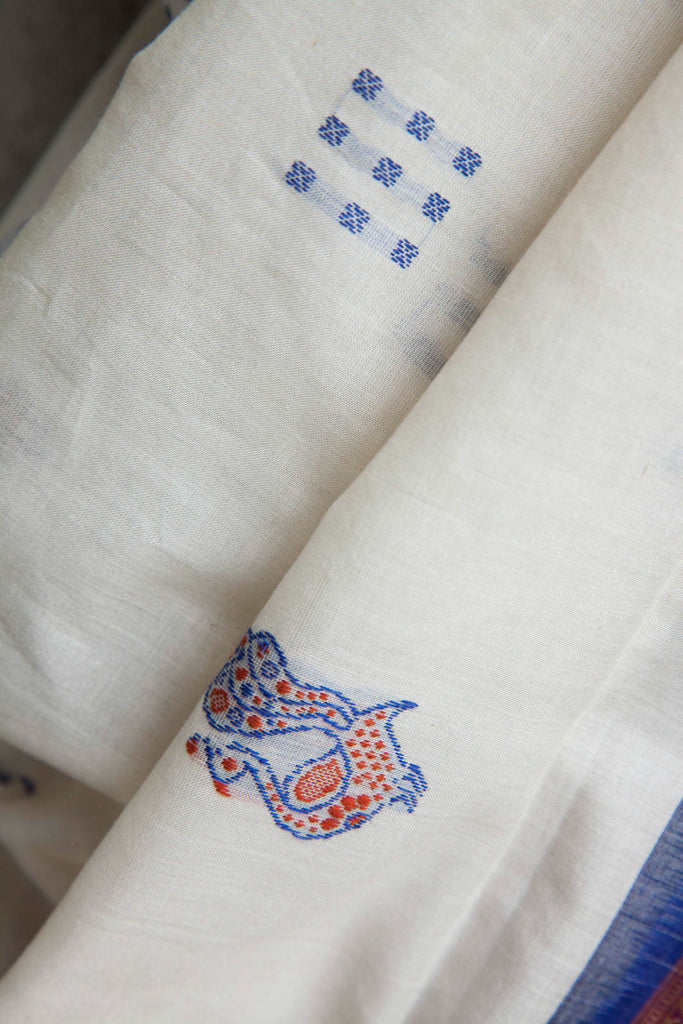 Blue and White Bomkai Saree