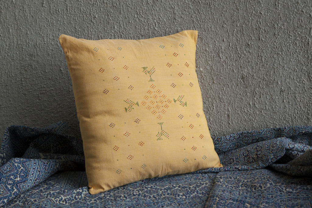 Tangaliya Yellow Cushion Cover 16