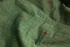 Jaamdani Khadi Green Blue Fabric with Red Booti(per meter)