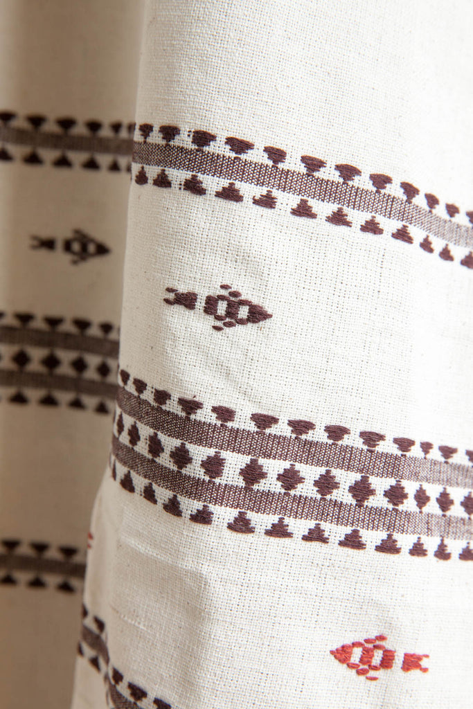 White Tribal Maroon Fish Motif Stole