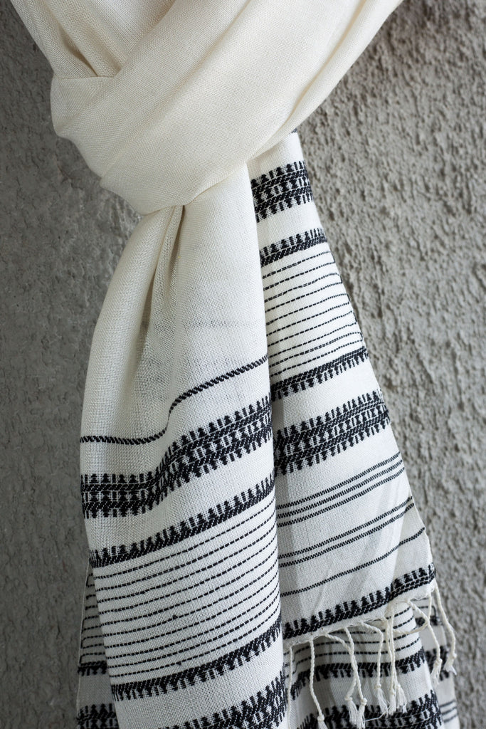 White Kutchhi Weave Stole