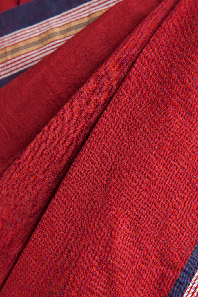 Deep Red Saree with Blue Border