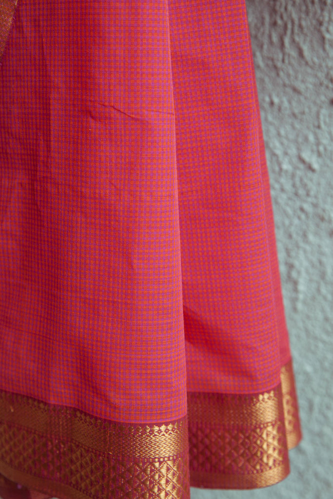 Nakshi - Nizam Border on Orange Pink Checks Saree