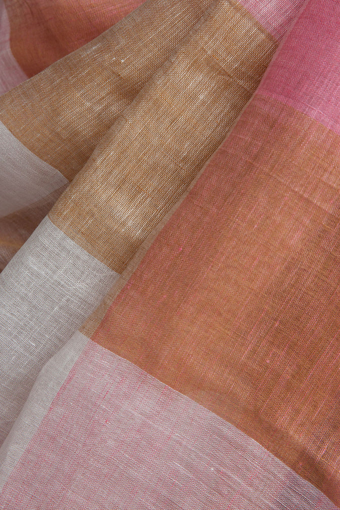 Pink and Brown Checkered Linen Saree