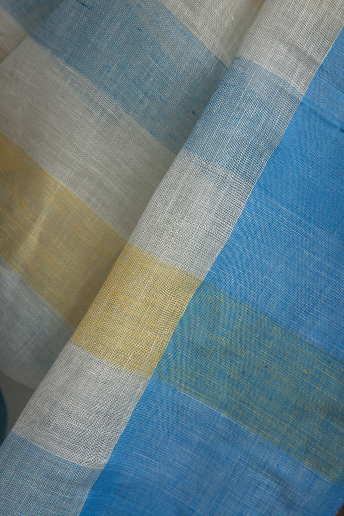 Plain White Linen Saree with Blue Border