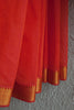 Orange Missing Lines Saree with Zari Border