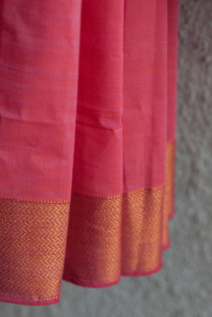 Pink Ornage Banaras Border Saree