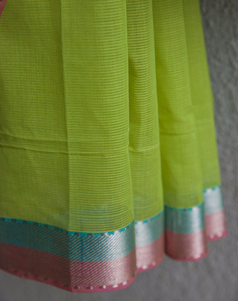 Mint Green Saree with Silver Zari Border