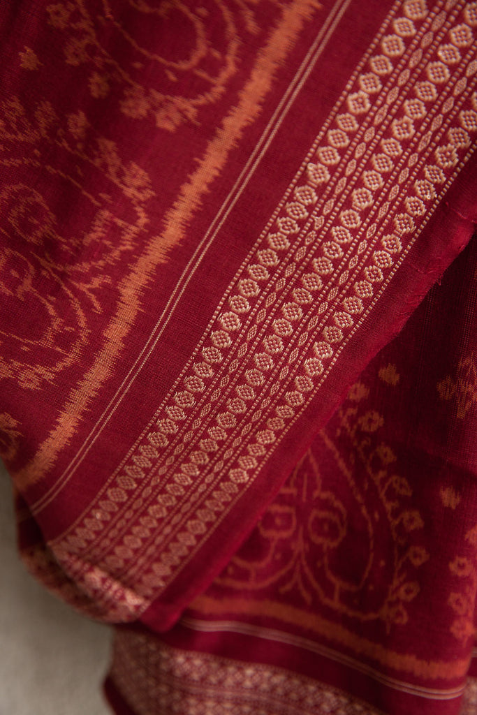 Deep Red Tie and Dye Saree