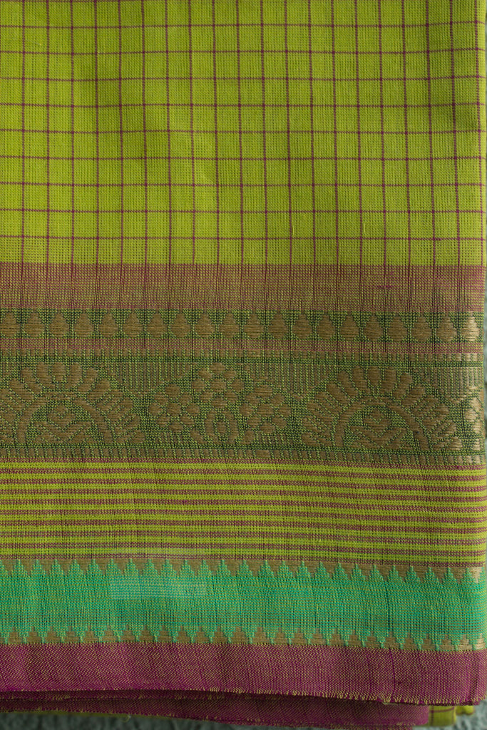 Fluorescent Green Kanchi Checkered Saree