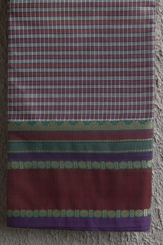 Grey and Maroon Checks on Kanchi Cotton