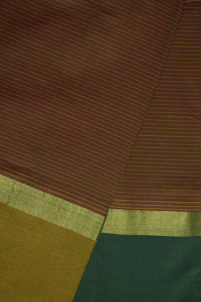 Red Green Dhoop Chaav Stripes Saree