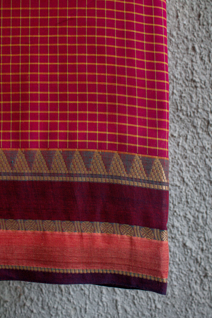 Checkered Rani Saree