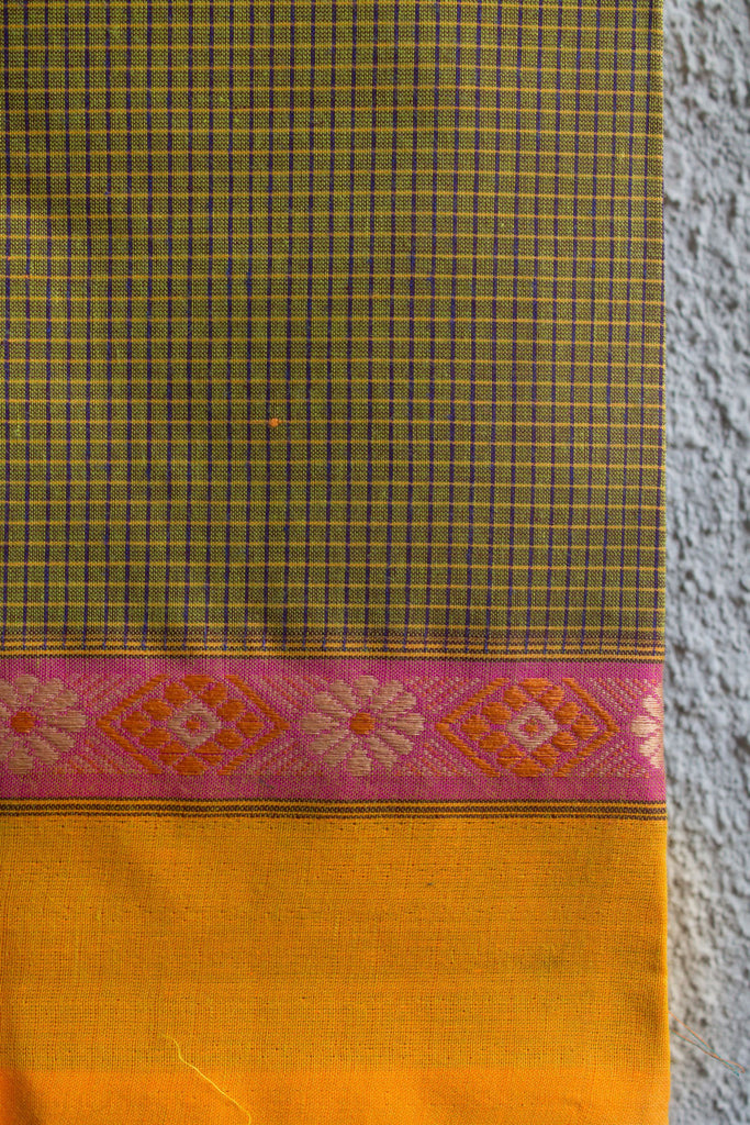 Yellow Checks Saree