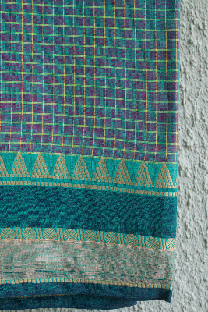 Purple Green Dhoop Chaav Checkered Saree