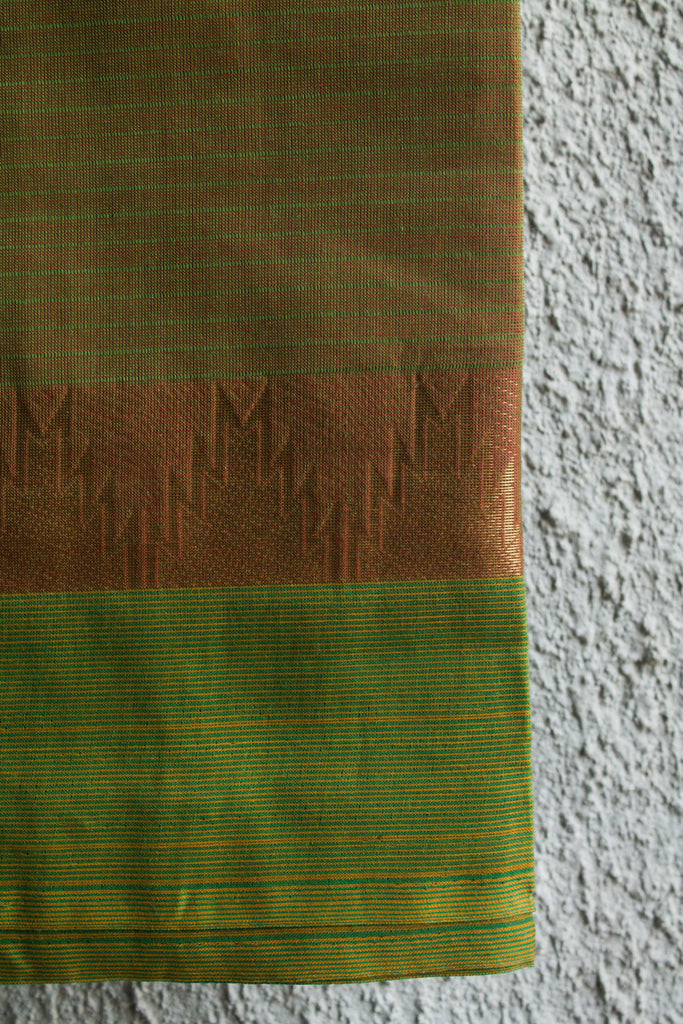 Green Red Dhoop Chaav Saree with Temple border