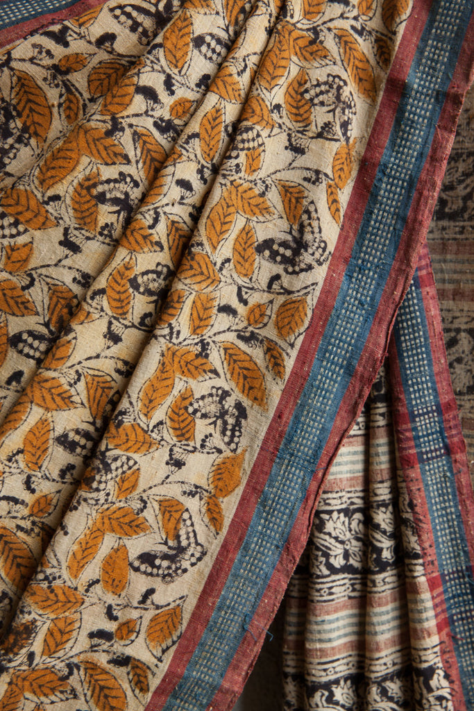 Yellow Leaves and Checkered Border on Kora Saree