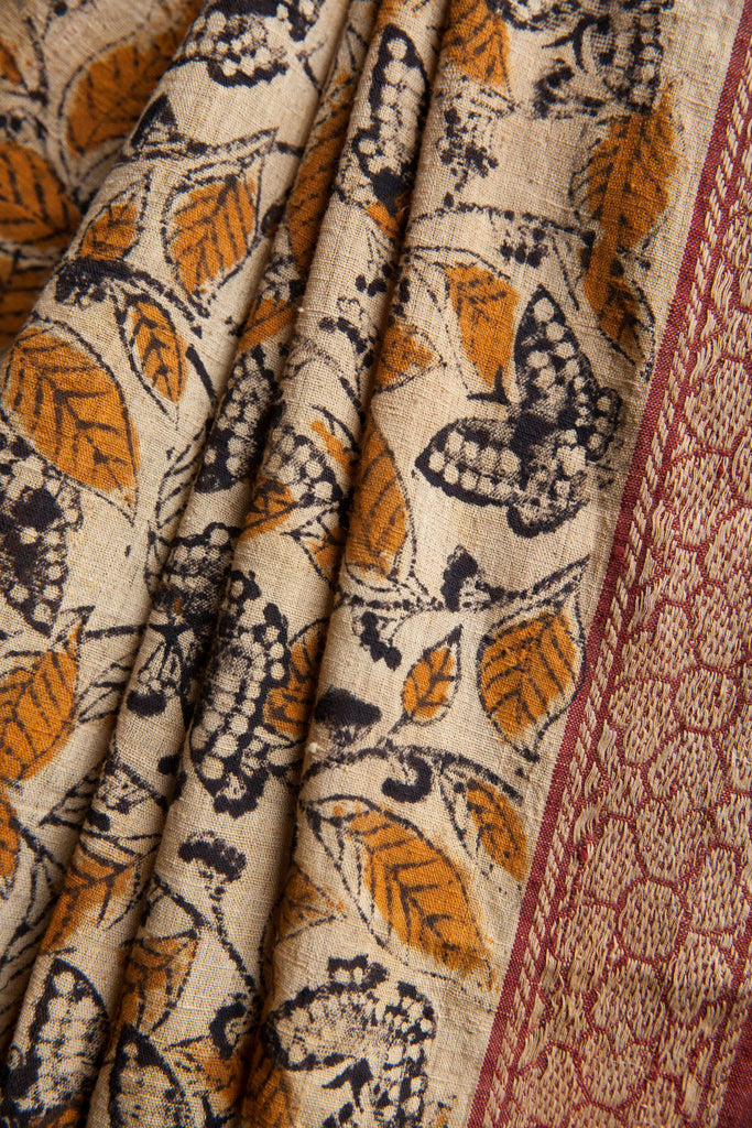 Yellow Leaves and Floral Border on Saree
