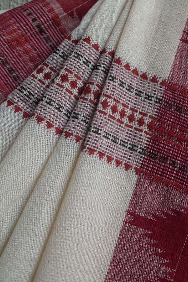 Kora Koraput Saree with Maroon Motifs