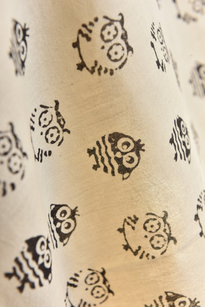 Natural Cotton Fabric with Owl Print (per meter)