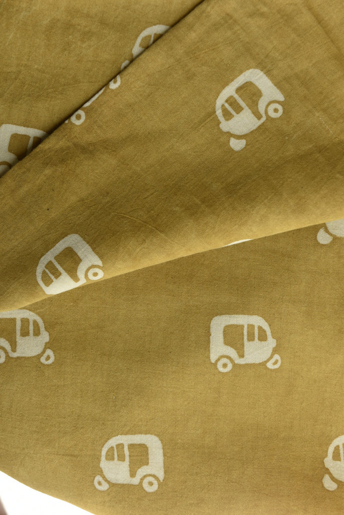 Khaki Fabric with Ricksaw Print