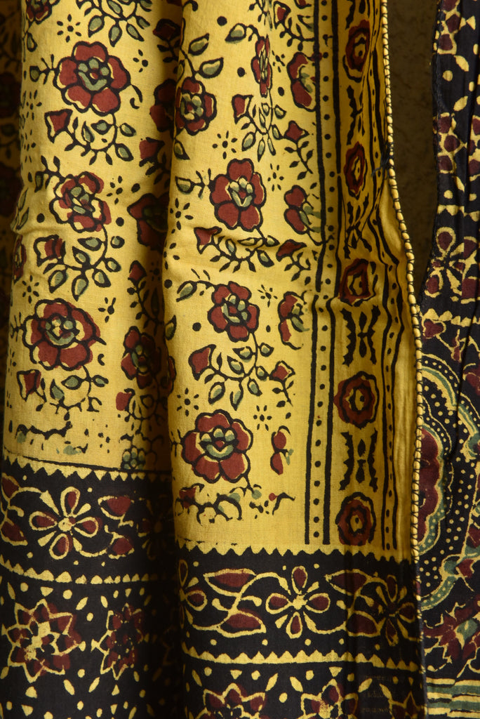 Yellow Black Floral Ajrakh Stole