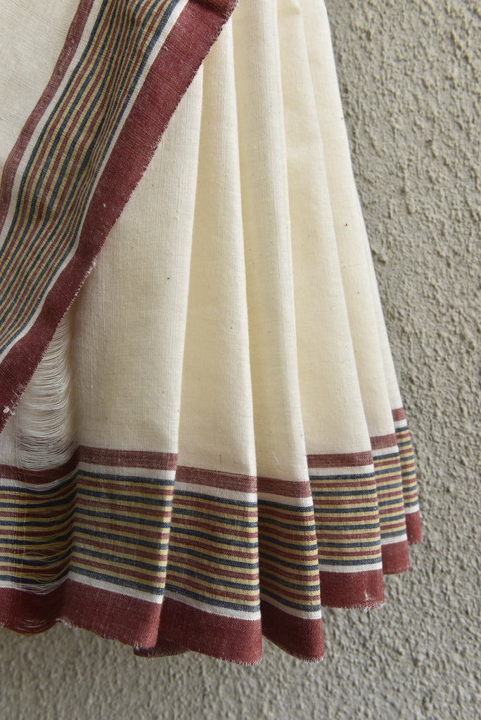 Stripe Border Kora Saree