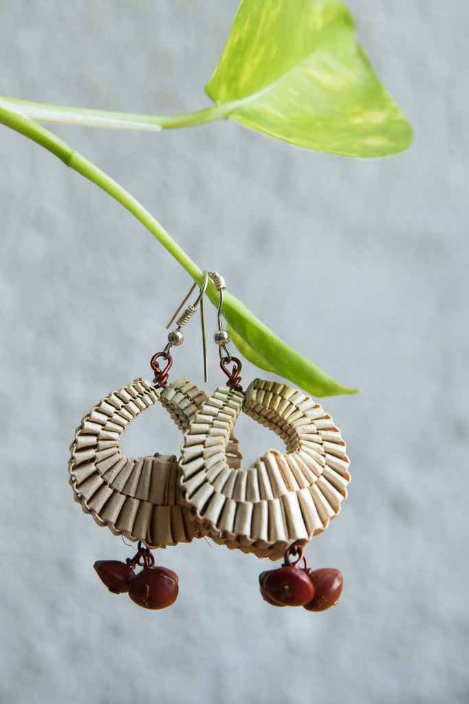 Palm Leaves Earrings with Brown Seeds
