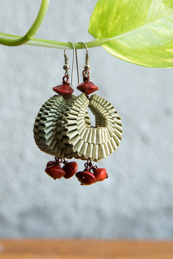 Palm Leaves Earrings with Red Seeds