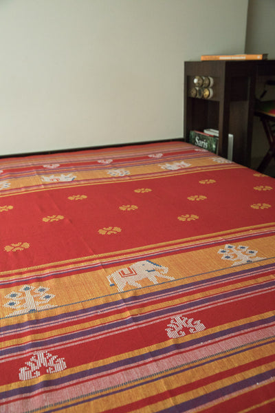 Red Single Bed Cover with Elephant Motifs