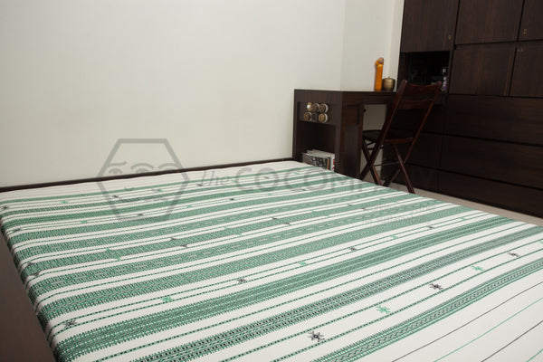 Green and Black Kutchhi Bed Cover