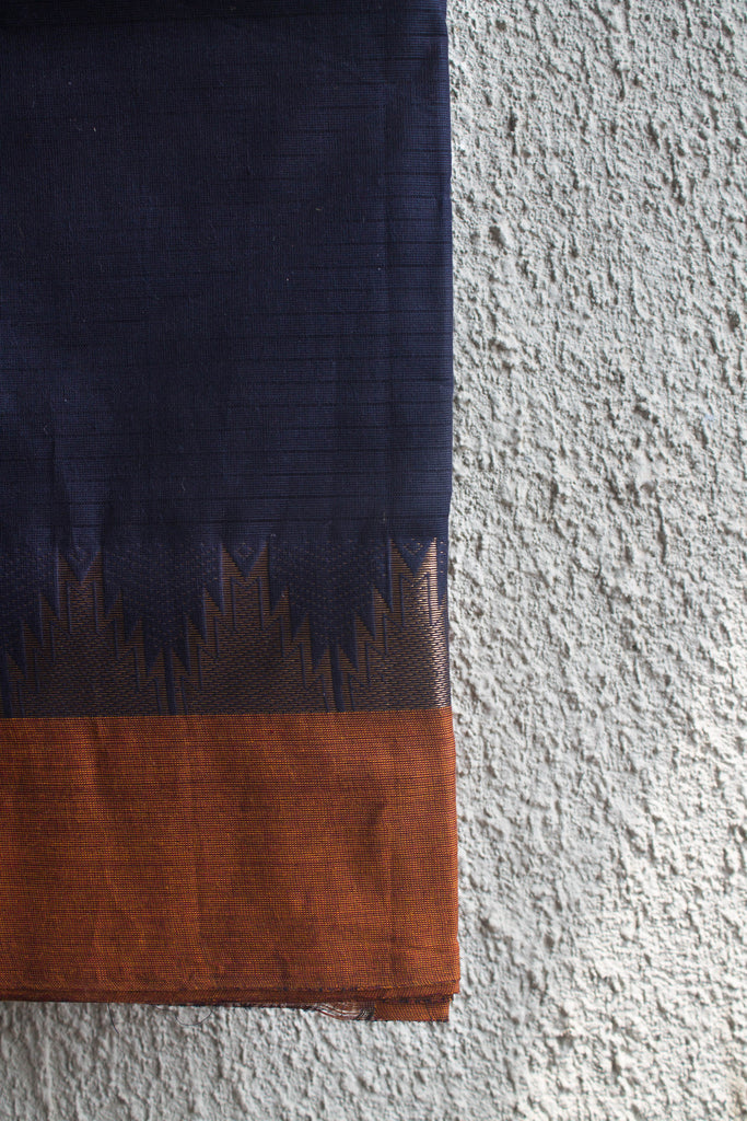 Dark Blue Saree with Brown Border