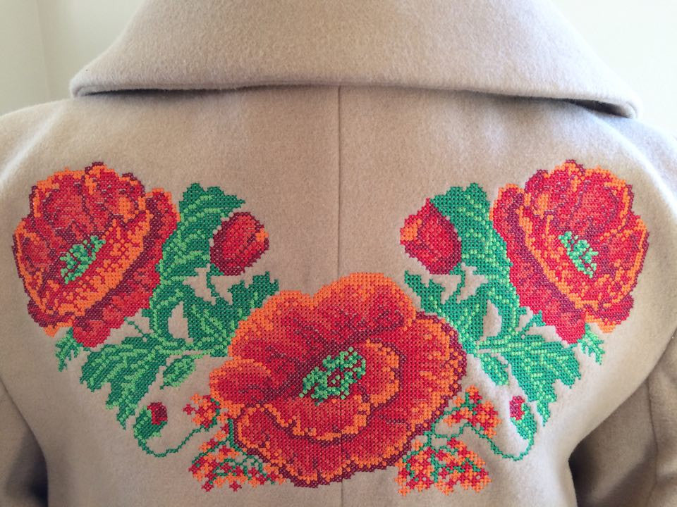 Long Tan Coat with Poppy Embroidery - Ukie Boutique