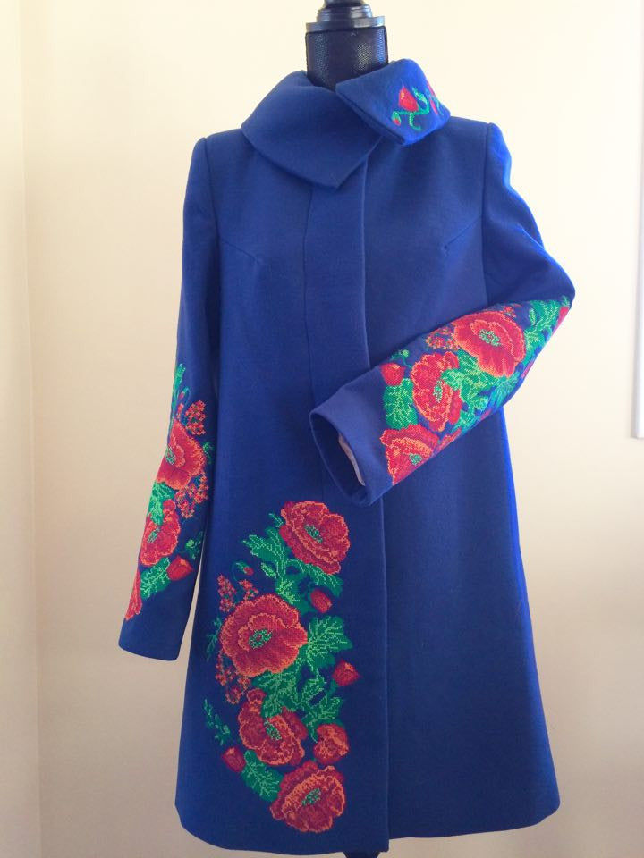 Long Blue Coat with Poppy Embroidery - Ukie Boutique