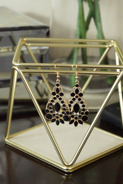 Black rhinestone Chandelier Earrings with rhinestone accent - Ukie Boutique