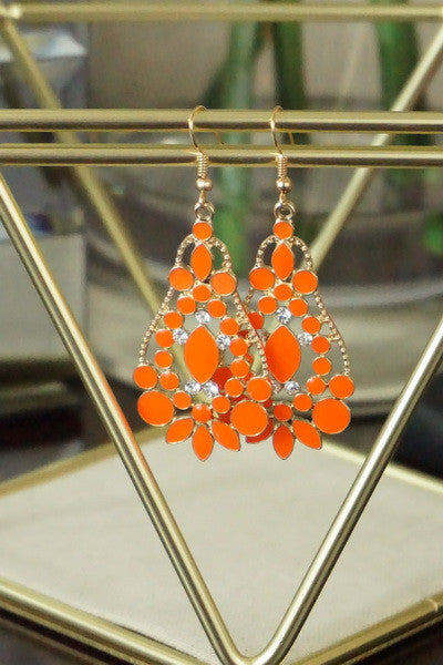 Orange Rhinestone Chandelier Earrings with Rhinestone Accent - Ukie Boutique