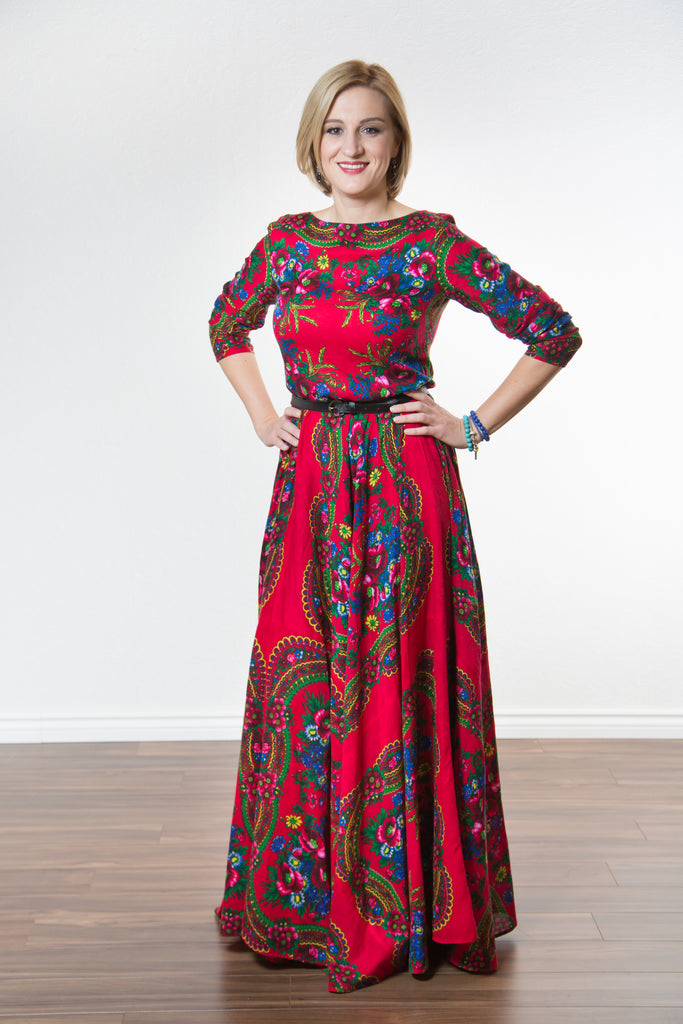 Long evening floral dress