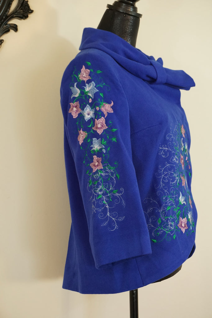 Short Bright Blue Coat Bow Neck line with Pink & White Flowers - Ukie Boutique
