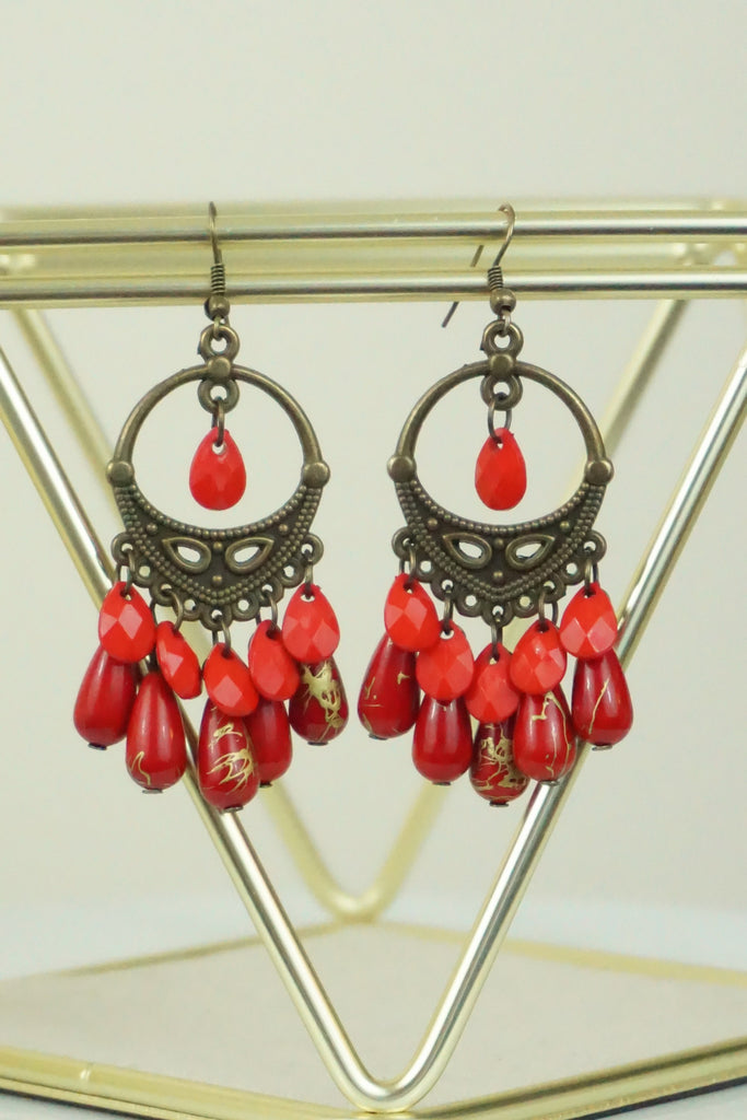 Red Chandelier Earrings - Ukie Boutique