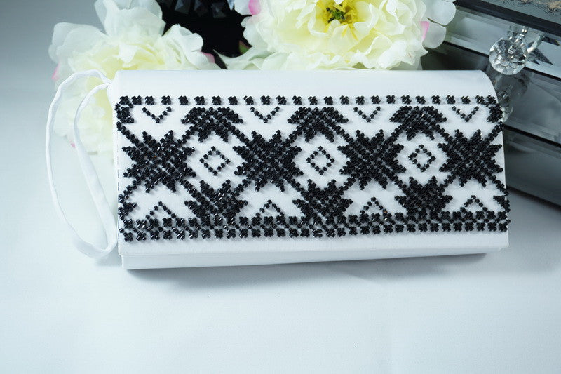 White Hand Beaded Clutch - Black Geometric Design - Ukie Boutique