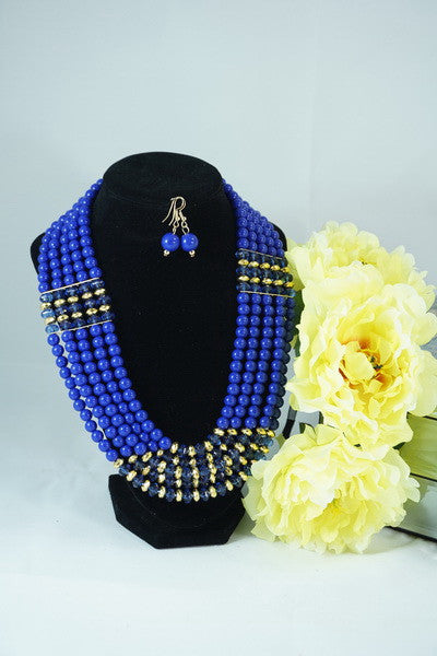 Multilayered Blue necklace & earings set - with clear & golden accent - Ukie Boutique