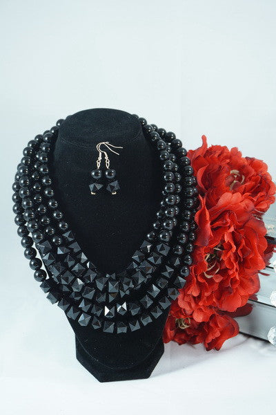 Multilayered Black necklace & earings set - Ukie Boutique
