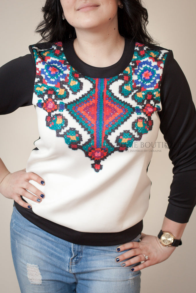 Black & White Colourful Knit Print Sweater - Ukie Boutique