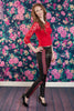 Ukie Faux Leather Leggings-Red Embroidered Design - Ukie Boutique