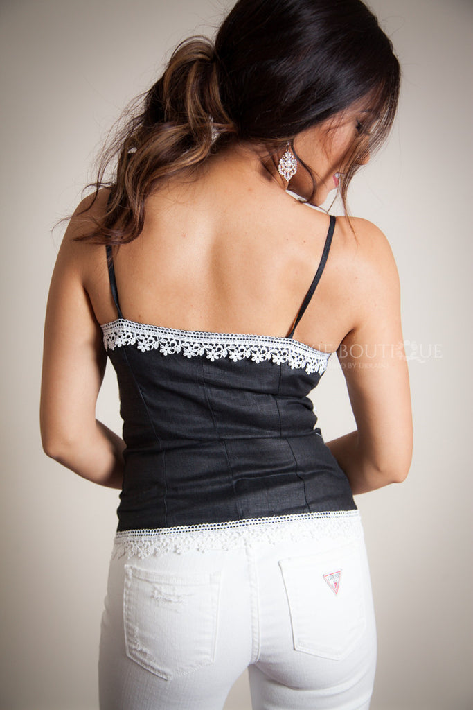 White & Grey Embroidered Tank top - Corset style - Ukie Boutique