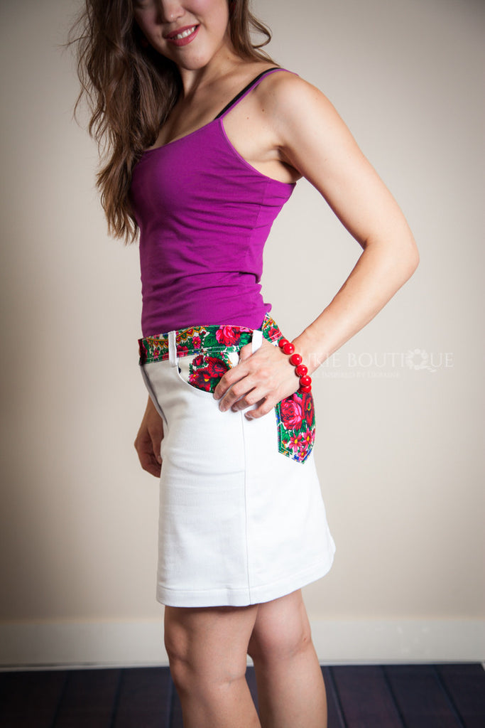 White Jean Skirt with Hustka Accent - Ukie Boutique